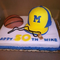 Basketball Coach Birthday Cake All edible, hat and ball are made of cake also. Whistle is made of fondant.