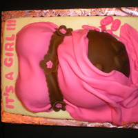 Pink & Brown Belly This is my second belly bump cake. The items on the side of the belly are candy made with Wilton candy melts.