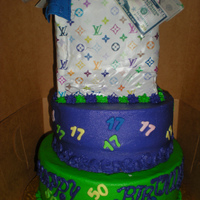 "Lv Shopping Bag With Money  This cake was created for a young lady and her father for their birthdays. The shopping bag (handles fell off) was ""filled"" with..."