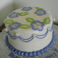 Brush Embroidery My first brush embroidery cake. The cake is WBC, crusting buttercream, with violet drop lines.