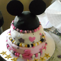 Daughter's Second Birthday My daughter is obsessed with Mickey Mouse so I was inspired by many CCer's mickey cakes. It was my first tiered and stacked cake. The...