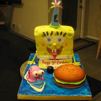 Spongebob And Gary  Spongebob was shaped by cutting two 1/4 sheet cakes into thirds and stacked. It is yellow cake with fudge filling. Gary was made by my...