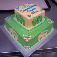 Elephant Baby Shower Cake   Iced and piped in Buttercream