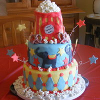 "Circus Themed Birthday Cake 10"" white cake, buttercream icing and marshmallow fondant. 8"" chocolate, BC icing and MM fondant. Popcorn bag, was 1/4 sheet cake..."