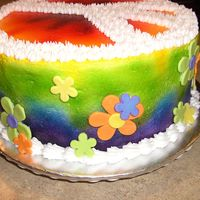 Tie-Dye Cake Ultimate tie-dye cake with a rainbow surprise inside.