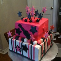 "Rockstar Pink Cake This was a rockstar themed cake. Inspiration from CC. 8"" bottom 6"" top"