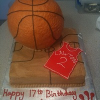 Basketball Player 17Th Birthday Cake A Basketball cake was requested and I added a single layer 8x8 underneath. Good thing, as the customer told me the birthday boy took the...
