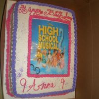 High School Musical 2 Happy Birthday Anna 9 yrs old. I made this cake for a friends daughter that was turning 9 . The Little girl love it. Yellow cake with...