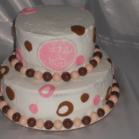 Its A Girl its a girl baby shower cake, butter cream w/ fondant accents and strawberry and chocolate whoppers