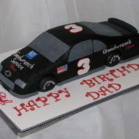 Dale Earnhardt Race Car This 3D car cake was made for my Dad who is still a big fan of the late Dale Earnhardt. The cake is all buttercream except for the gumpaste...