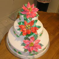Poinsettias My first tiered cake. Far from perfect, but I'm, okay with the way it turned out. Gumpaste flowers, fondant accents.