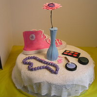 Night Stand Night table cake. Gum paste high-top, makeup, beads and flowers. Modeling chocolate vase, Sugarveil lace.