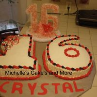 Crystal Sweet 16 This cake was for a friend daughter. Yellow cake with chocolate mouse filling. Spanish style very moist. The name was made with foundant...