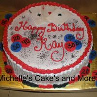 Ray's Birthday This cake is Yellow with strawberry filling. Foundant accents . The cards are made with foundant and rice paper. drawn with edible wilton...