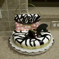 Zebra Purse & Shoe Pink, zebra, and gold purse & shoe cake!