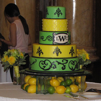 Lemon's & Lime's Wedding Cake 5 tier wedding cake Green & Yellow with damask