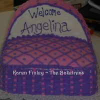 Bassinet Cake   Taught myself how to basketweave on this cake! Never had done it before!!!