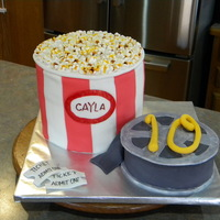 Popcorn/movie Night Themed Cake