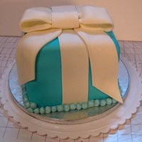 First Fondant Cake - Tiffany Box My first attempt at a fondant-covered cake. Made for an engagement party, in the style of a Tiffany's box. The bow is flatter than I...