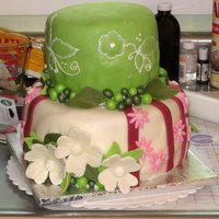 First Bridal Shower Cake - Third Fondant Cake  Third fondant cake; first bridal shower cake. The bride's colors were light and dark pink and celery green. Her dress sports a pressed...