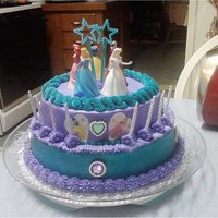 Princess Abby This is a chocolate cake with purple and turquoise buttercream, edible images with real little princess dolls on top, play wands and play...