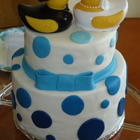 Blue Polka Dot Wedding Shower 8 in Chocolate w/ Choc Ganach, 6 in yellow with Cream Cheese. Satin Ice Fondant. I found these Super Cute duckies at Michaels.