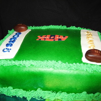 Saints Superbowl Cake 9x13 sheet cake. This was my first time working with marshmallow fondant. I airbrushed the cake with Americolors. Fondant and gumpaste...