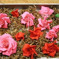 Gumpaste Roses   Some of the flowers for a cake this weekend.
