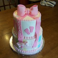 "Simple Girl Baby Shower- Pink Bow Baby girl shower cake. Got the napkin as inspiration...learned a few things--as I do every cake I do! 6"" is SugarShack's..."