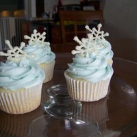 Snowflake Cupcakes WASC with SugarShack Icing, white candy melts sprinkled with sanding sugar and sugar pearls.