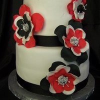 Fantasy Flower Red, Black And White 6 and 8 with red, black, and white fantasy flowers. Used 4 sizes of JEM rose cutters. Fondant was my enemy that day and prompted me to...