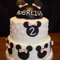 Minnie Mouse Birthday Cake 10-8-1/2 ball. The 1/2 ball is covered with chocolate ganache. The rest is homemade fondant. 10 is 1/2 chocolate, 1/2 white with cookies...