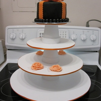 Wedding Shower this is Duff's chocolate cake mix with raspberry filling, 6 inch cake-I made this cupcake stand - orange and black are the colors for...