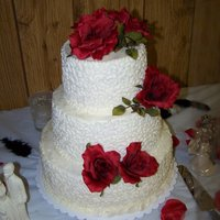 Wedding Cake For My Neice vanilla pound cake with a strawberry cream filling