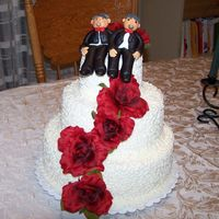 Wedding Cake For Friends White pound cake with buttercream frosting. Fondant Grooms.