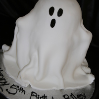 Rylies Spooky Ghost Cake I made this for a little friend whose birthday fell on halloween this year, he wanted a ghost cake that he could scare his friends with. I...