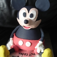 Mickey Mouse 3d, chocolate mudcake base (doll tin), banana head (sports ball). Covered in white choc ganache and then coloured fondant. All extras are...