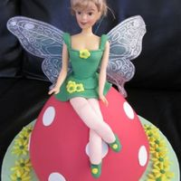 Tinkerbelle Chocolate mudcake covered in white choc ganache and coloured fondant.