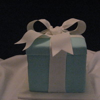 Tiffany Box White cake with white chocolate ganache and Michele Foster's White Chocolate Fondant. Gumpaste bow.