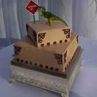 T-Rex And Wrong Ways Wedding Chocolate w/ Chocolate Rum buttercream, chocolate scrolls