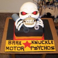 Motor Psychos Grand Opening Cake Creepy fondant covered rice krispy skull