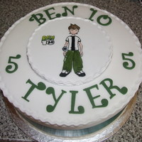 "Ben 10 Birthday Cake Painted plaque cake of Ben 10. 10"" round sponge cake with 6"" Iced board painted with picture."