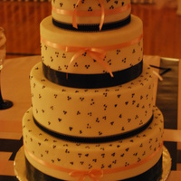 Black, White, And Pink   Simple black, white, and pink wedding cake