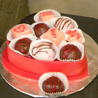 "Box Of Chocolates  ""Box of chocolates"" cake covered in red fondant with chocolate dipped red velvet cake balls and pound cake petit fours. The..."