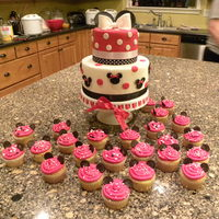 Minnie Mouse This cake and cupcakes were inspired by other cakes I saw on CC, with a few minor changes. I made these for my daughter's 2nd birthday...