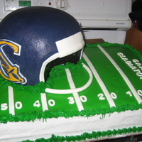 Football Banquet Cake  for my cousins high school football teams banquet. had to keep the toothpicks in to hold up the logo because it was so heavy. this was my...