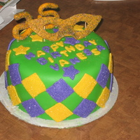 Mardi Gras Birthday Cake   for my friend for her 25th birthday.