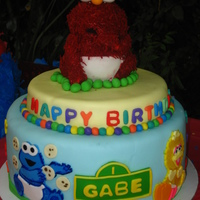 Sesame Street 1St Birthday Cake for my friends baby's 1st birthday. made the elmo with the teddy bear pan covered with colored coconut