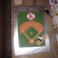 "Mike's Red Sox Cake Vanilla bean pound cake with lemon buttercream The ""field"" is brown sugar with a little red food coloring. Handmade Red Sox logo..."