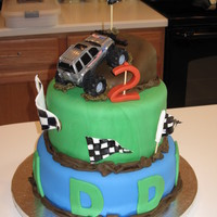 Madden's Monster Truck Madden's 2nd b-dayBottom layer is devil's food cake, bavarian cream filling wit buttercreamTop layer is french vanilla cake with...